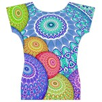 India Ornaments Mandala Balls Multicolored Women s V-Neck Cap Sleeve Top Back