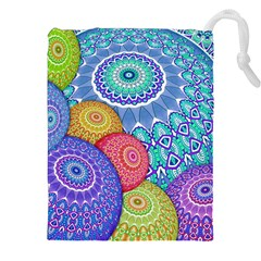 India Ornaments Mandala Balls Multicolored Drawstring Pouches (XXL)
