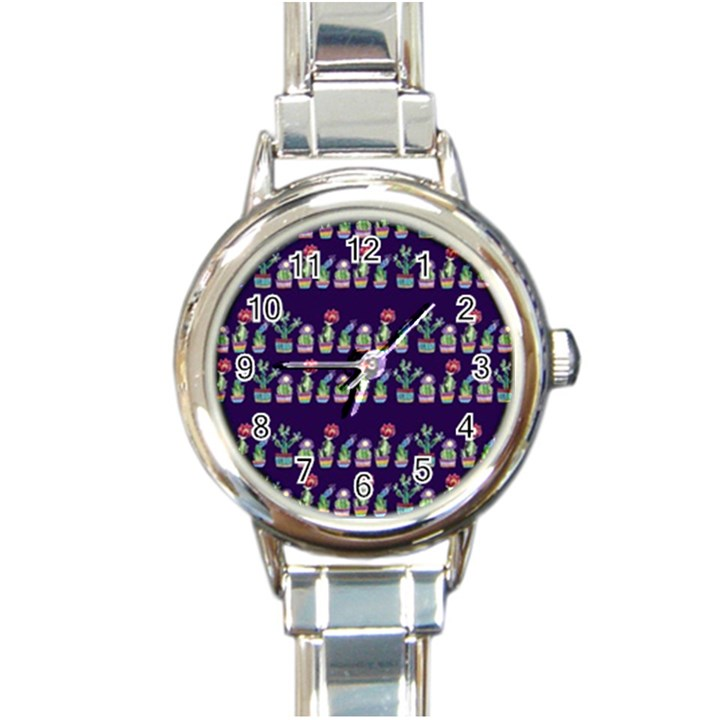 Cute Cactus Blossom Round Italian Charm Watch
