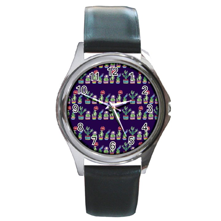 Cute Cactus Blossom Round Metal Watch