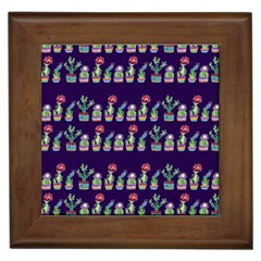 Cute Cactus Blossom Framed Tiles