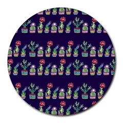 Cute Cactus Blossom Round Mousepads
