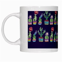 Cute Cactus Blossom White Mugs