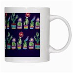 Cute Cactus Blossom White Mugs Right