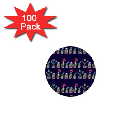 Cute Cactus Blossom 1  Mini Buttons (100 pack)