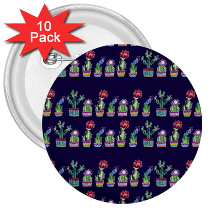 Cute Cactus Blossom 3  Buttons (10 pack)