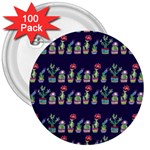 Cute Cactus Blossom 3  Buttons (100 pack)  Front