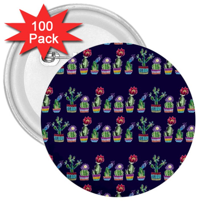 Cute Cactus Blossom 3  Buttons (100 pack)