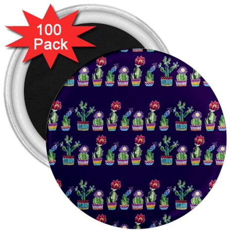 Cute Cactus Blossom 3  Magnets (100 pack)