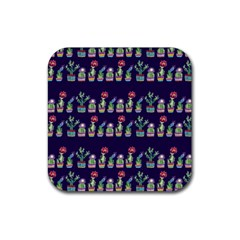 Cute Cactus Blossom Rubber Square Coaster (4 Pack)