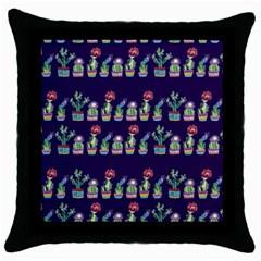Cute Cactus Blossom Throw Pillow Case (black)