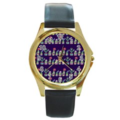 Cute Cactus Blossom Round Gold Metal Watch