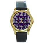 Cute Cactus Blossom Round Gold Metal Watch Front