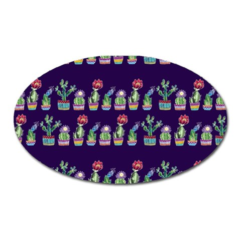 Cute Cactus Blossom Oval Magnet