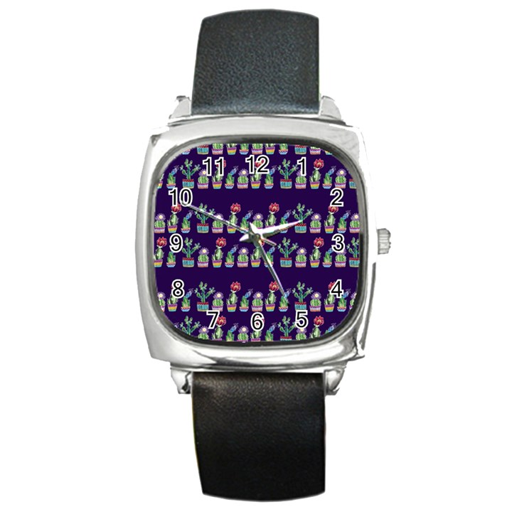 Cute Cactus Blossom Square Metal Watch