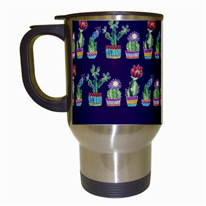 Cute Cactus Blossom Travel Mugs (White)