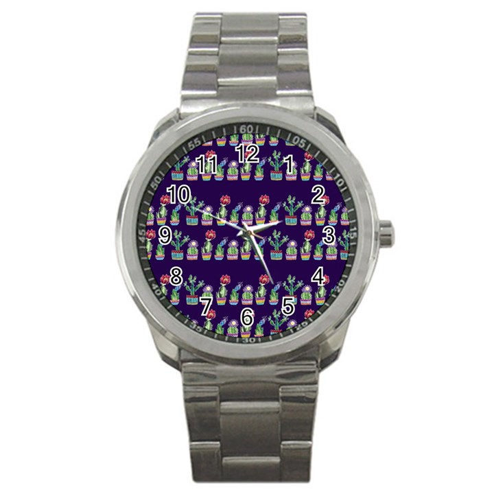 Cute Cactus Blossom Sport Metal Watch