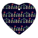 Cute Cactus Blossom Heart Ornament (2 Sides) Front