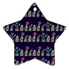 Cute Cactus Blossom Star Ornament (Two Sides)