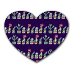Cute Cactus Blossom Heart Mousepads Front