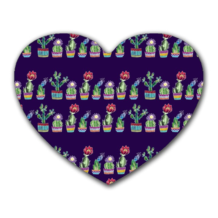 Cute Cactus Blossom Heart Mousepads