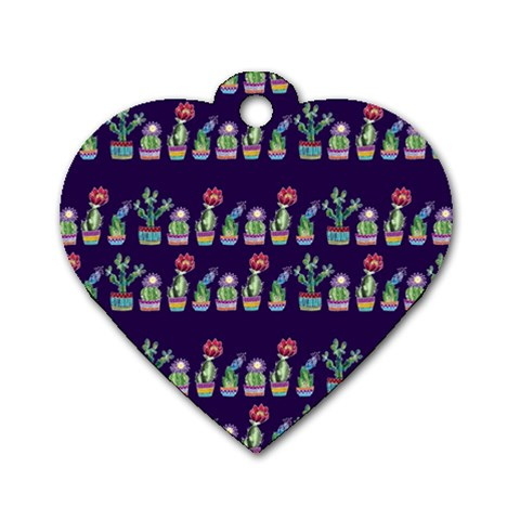 Cute Cactus Blossom Dog Tag Heart (One Side)