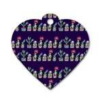 Cute Cactus Blossom Dog Tag Heart (Two Sides) Back
