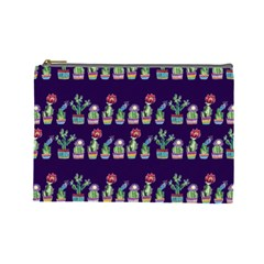Cute Cactus Blossom Cosmetic Bag (Large)
