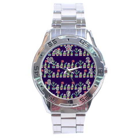 Cute Cactus Blossom Stainless Steel Analogue Watch