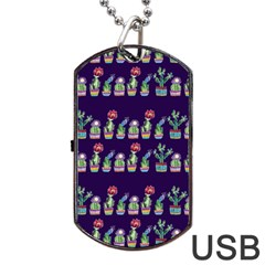 Cute Cactus Blossom Dog Tag Usb Flash (one Side)