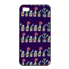 Cute Cactus Blossom Apple Iphone 4/4s Seamless Case (black)