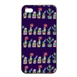 Cute Cactus Blossom Apple iPhone 4/4s Seamless Case (Black) Front