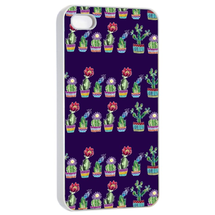 Cute Cactus Blossom Apple iPhone 4/4s Seamless Case (White)