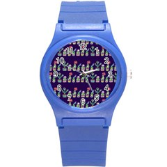 Cute Cactus Blossom Round Plastic Sport Watch (S)