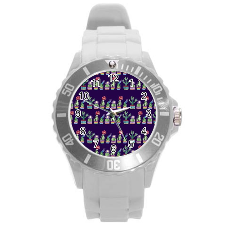 Cute Cactus Blossom Round Plastic Sport Watch (L)