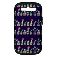 Cute Cactus Blossom Samsung Galaxy S III Hardshell Case (PC+Silicone)