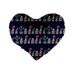 Cute Cactus Blossom Standard 16  Premium Heart Shape Cushions Back