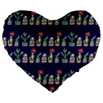 Cute Cactus Blossom Large 19  Premium Heart Shape Cushions Front