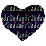 Cute Cactus Blossom Large 19  Premium Heart Shape Cushions Back