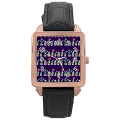 Cute Cactus Blossom Rose Gold Leather Watch