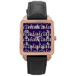 Cute Cactus Blossom Rose Gold Leather Watch  Front