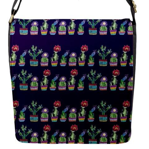Cute Cactus Blossom Flap Messenger Bag (S)