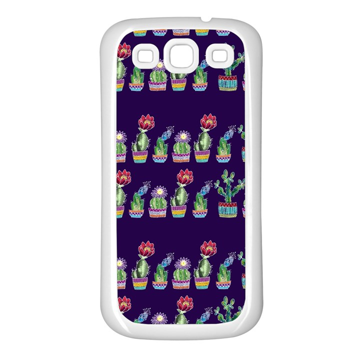 Cute Cactus Blossom Samsung Galaxy S3 Back Case (White)