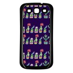 Cute Cactus Blossom Samsung Galaxy S3 Back Case (Black) Front