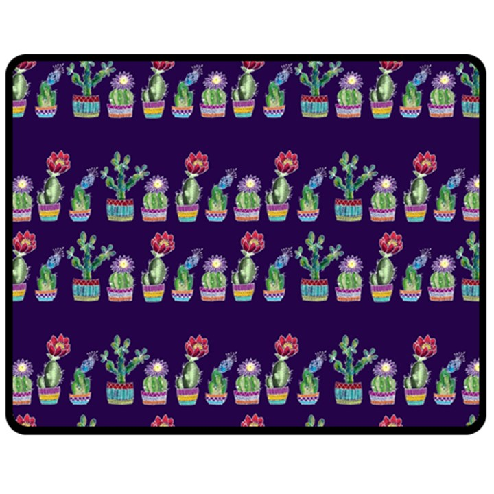 Cute Cactus Blossom Double Sided Fleece Blanket (Medium)