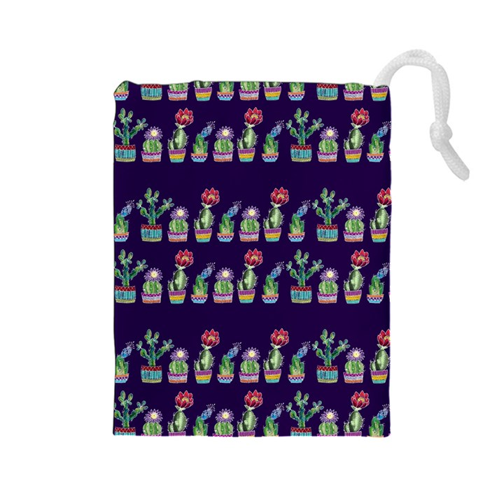 Cute Cactus Blossom Drawstring Pouches (Large)