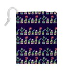 Cute Cactus Blossom Drawstring Pouches (Large)  Back