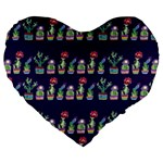 Cute Cactus Blossom Large 19  Premium Flano Heart Shape Cushions Front