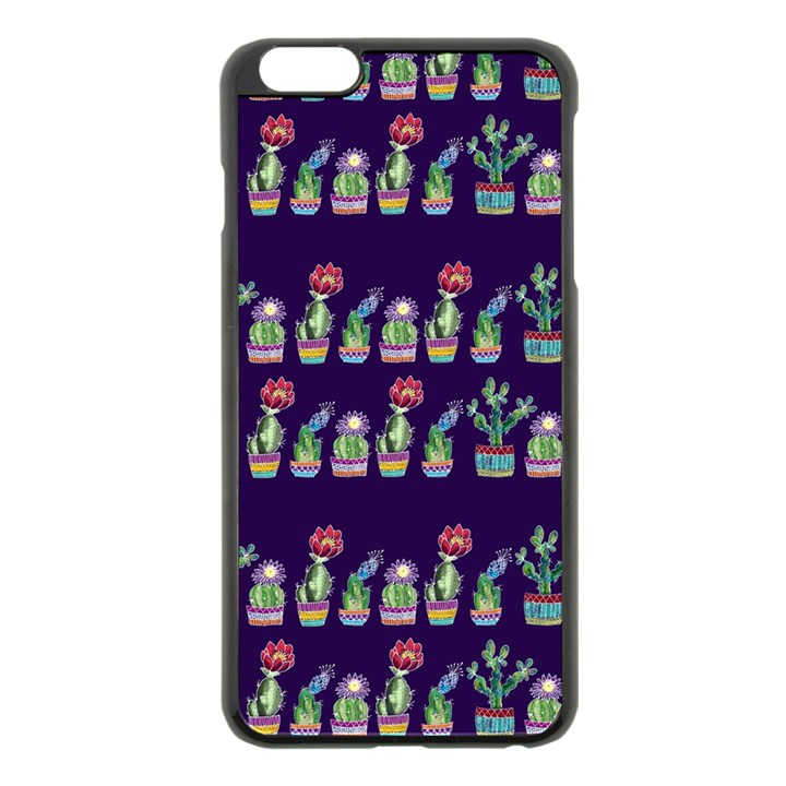 Cute Cactus Blossom Apple iPhone 6 Plus/6S Plus Black Enamel Case