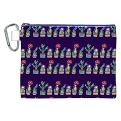 Cute Cactus Blossom Canvas Cosmetic Bag (xxl)